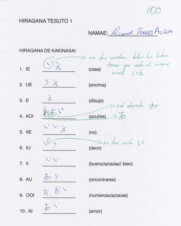 1r Examen de Hiragana