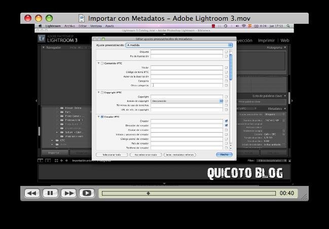 Como Importar con metadatos en Adobe Lightroom 3