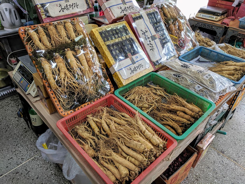 Comprando ginseng en Corea del Sur